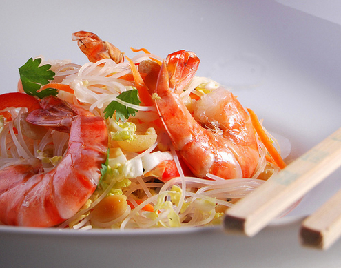 Ensalada china de gambas